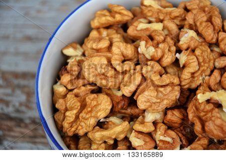 Walnuts Kernel On Blue Vintage Table Village Fall Harvest 5