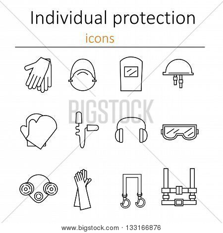 Individual protection. Set of icons of personal protective equipment in construction. Protective equipment for eyes head ears hands lungs and the body. Body protection and health. Vector.