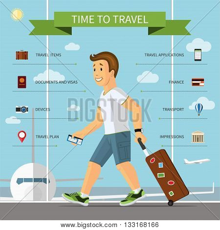 Travel infographic concept illustration. Smiling cartoon man with hand luggage suitcase in the airport and the set of icons of tourism, travel by plane, summer vacation planning, journey in holidays