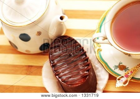 Cup Of Tea, Chocolate Cake And Pot - View From The Top