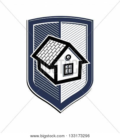 Home insurance vector conceptual icon protection shield with simple house.
