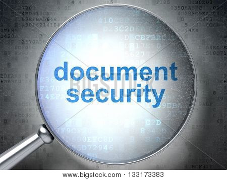 Security concept: magnifying optical glass with words Document Security on digital background, 3D rendering