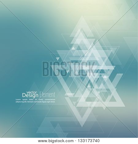 Abstract blurred background with hipster stream flying triangles debris. Pattern. For cover book, brochure, flyer, poster, layout, template, magazine, t-shirt. Vector design. subtle. color, blue