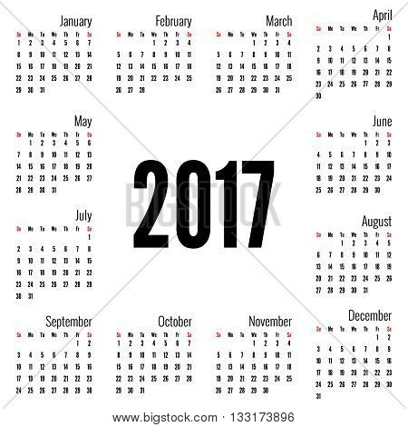 Monthly Calendar for 2017.  Simple month grid template. Vector. white