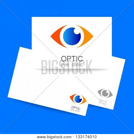 Ophthalmology identity presentation. Optic eye clinic logo. Optic logo design template for medical care. Eye logo template. Idea for ophthalmic clinic or eye clinic. Vector illustration.