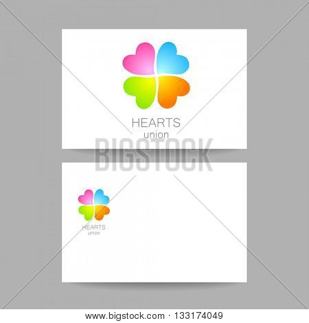 Heart union logo template. Quarterfoil of colored hearts. Idea for business corporate card design. Vector illustration.