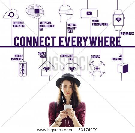 Connect Everywhere Connected Drones Technology Concept