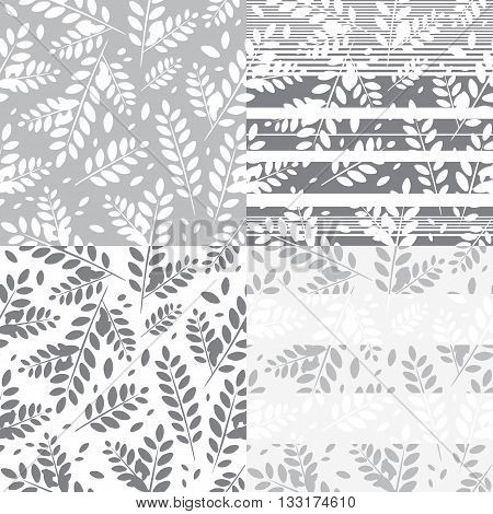 Set of seamless patterns with leaves of a mountain ash. Monochrome vector backgrounds.
