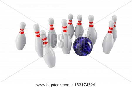 Bowling Ball crashing into the pins isolated on white background. Without shadow. Perspective view. For logo, advertising, wallpaper, print etc.