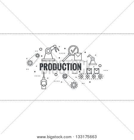 Thin Line Art Design. Linear vector set icons and elements.  Concept Production line, Assembly, development, robotic automatic conveyor manufacture.