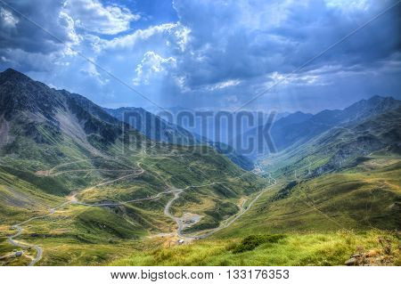 Roads in Central Pyrenees mountains close to Col du Tourmalet (2115m).This is the highest road in this mountains range and represents one of the most famous climb of The Tour of France which is the biggest cycling race in the world. poster