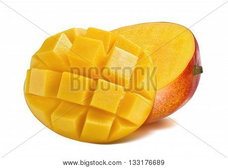 Mango half cut slice diced isolated on white background as package design element