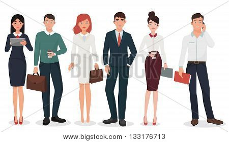 Young Office business people with suitcases and gadgets collection