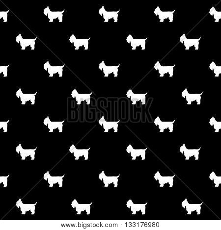 Vector seamless pattern with dog in black background