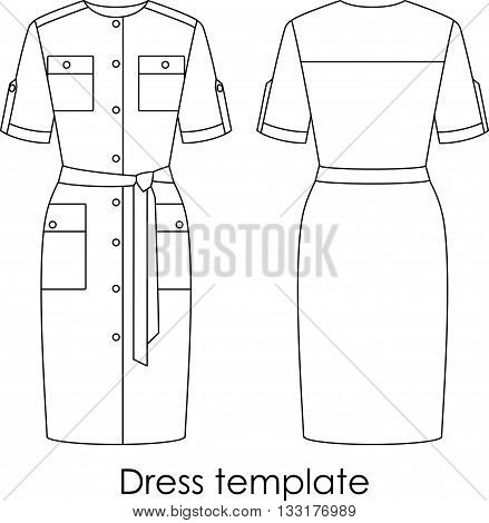 Dress vector isolated template model. Line art style