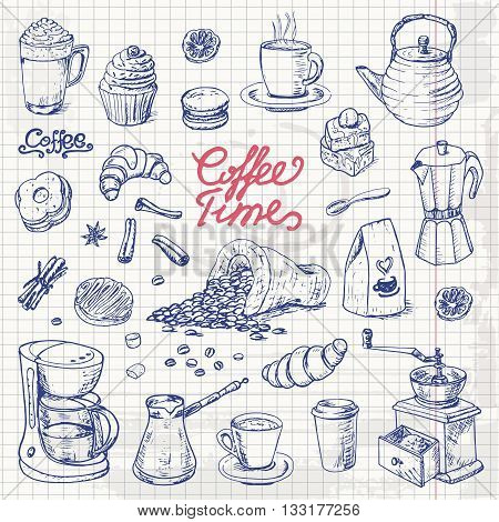 Collection of coffee doodle elements for cafe menu fliers chalkboard on a paper sheet. Vector illustration for your design