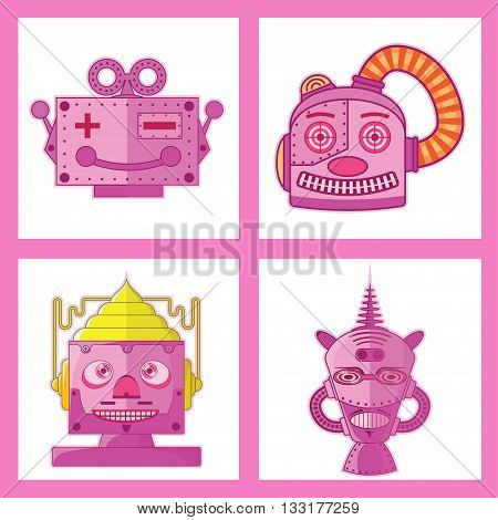 Pink Tin Toy Robot Head vector new design.