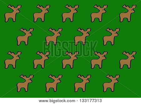 Figures deer on a green background for savers, gift wrapping and greeting cards