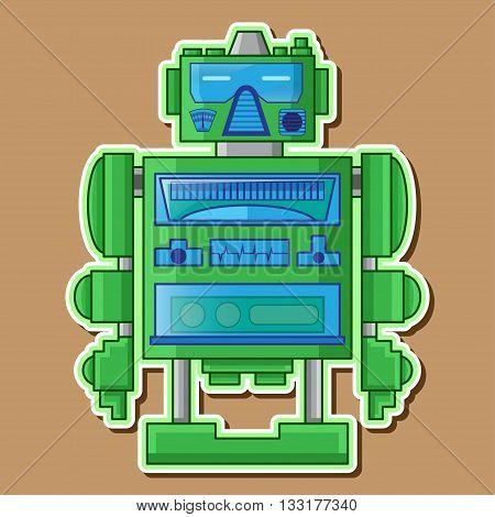 Green Retro Cute Robot toy Vector Design