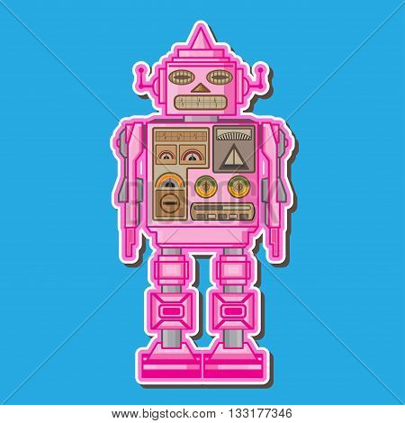 Pink Retro Cute Robot toy Vector Design