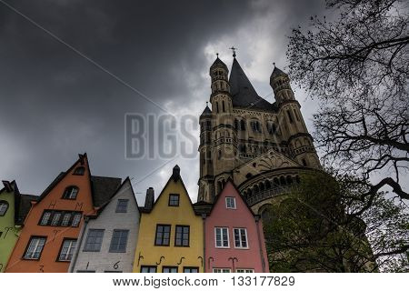 Church Of St. Martin And  Old Houses In The Old Town In Cologne