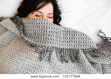 Sleeping Brunette Blanket Nap Relax Dreaming Bedroom Women Concept