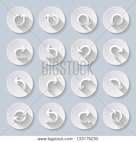 Set of flat round icons with rounded arrows.
