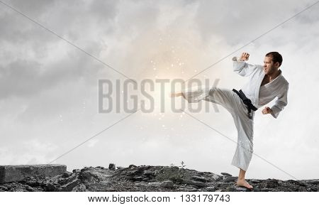 Karate man training