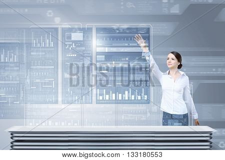 Woman using innovative media technologies