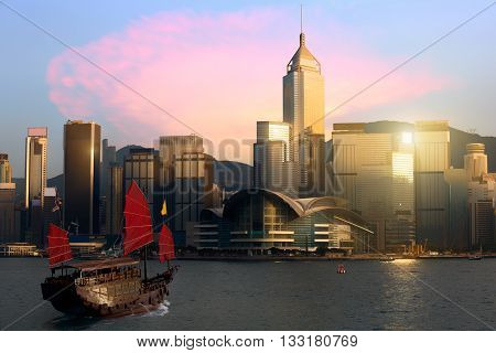 Hong Kong city skyline Victoria harbour Hong Kong Special Administrative Region of the People's Republic of China. Hong Kong skyline from kowloon