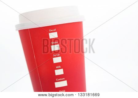 Coffee to go. Paper cup isolated on white background