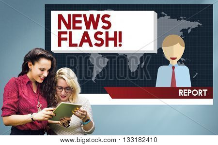 News Flash Announcement Breaking News Report Concept