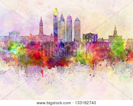 Philadelphia skyline in watercolor background artistic abstract
