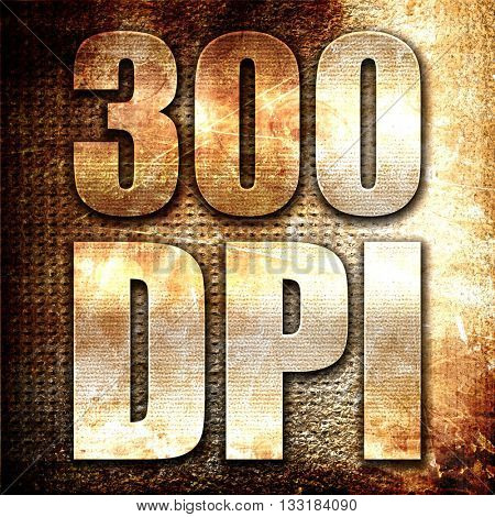 300 dpi, 3D rendering, metal text on rust background