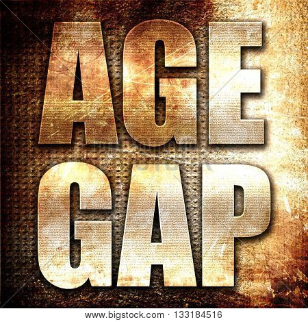 age gap, 3D rendering, metal text on rust background