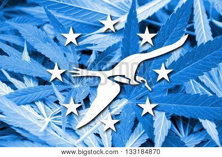 Flag Of Corpus Christi, Texas, On Cannabis Background