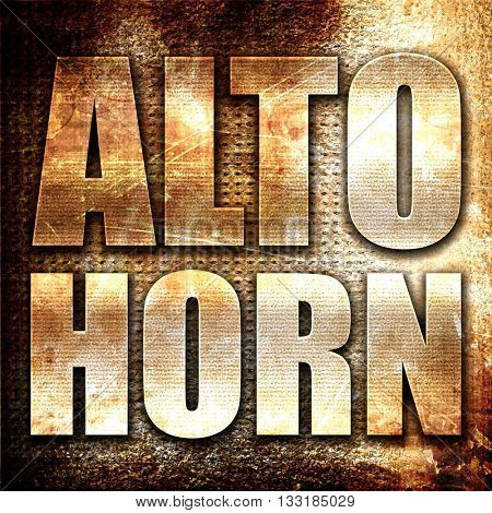 alto horn, 3D rendering, metal text on rust background
