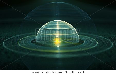 Abstract orb. Decorative fractal design on a black background. 3D illustration