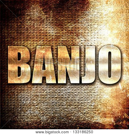 banjo, 3D rendering, metal text on rust background