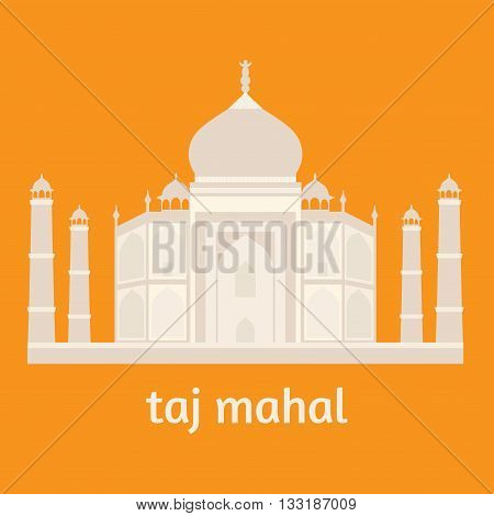 Taj Mahal Temple Landmark in Agra, India. Indian white marble mausoleum, indian architecture flat, vector