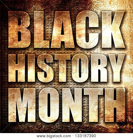black history month, 3D rendering, metal text on rust background poster
