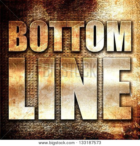 bottom line, 3D rendering, metal text on rust background
