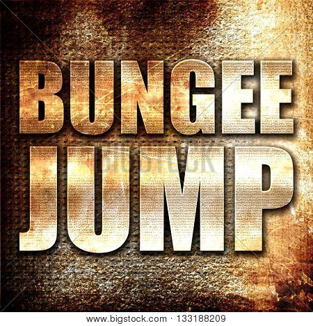 bungee jump, 3D rendering, metal text on rust background