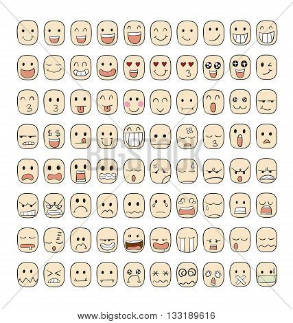 Collection set of 80 face emotions vector