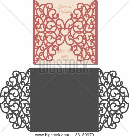 Laser Cut Invitation Card. Laser cutting pattern for invitation wedding card. Wedding invitation envelope template.
