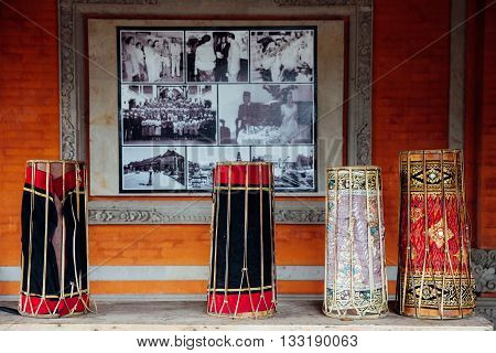 UBUD, INDONESIA - FEBRUARY 26: Traditional balinese music instruments instruments for
