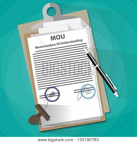 Agreement mou memorandum of understanding legal document concept, contract, documents folder, pencil and stamp. vector illustration in flat design on green background