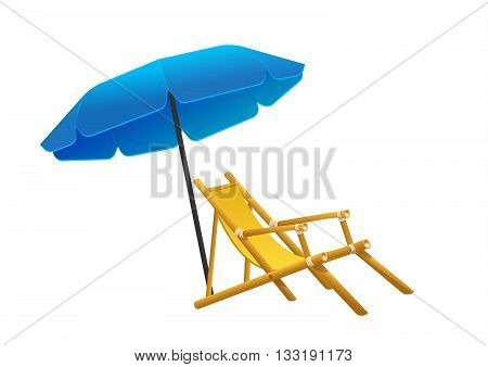 Vector sunbeds parasol depicted in the style of flat deckchair and beach areas icon deckchair and beach areas