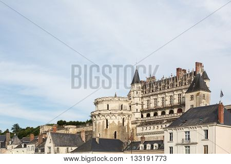 The Loire's Valley's Chateau d'Amboise rises above the city of Amboise