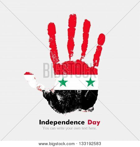 Hand print, which bears the Flag of Syria. Independence Day. Grunge style. Grungy hand print with the flag. Hand print and five fingers. Used as an icon, card, greeting, printed materials.